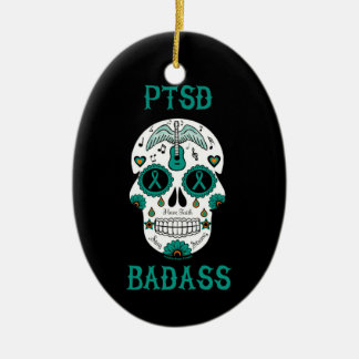 PTSD Badass sugar skull Ceramic Ornament
