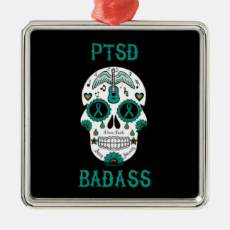 PTSD Badass sugar skull Metal Ornament