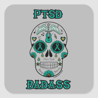 PTSD Badass sugar skull Square Sticker