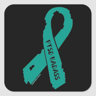PTSD BADASS torn ribbon Square Sticker