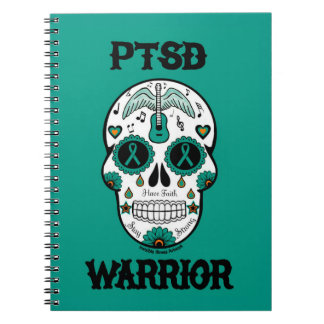 PTSD WARRIOR sugar skull Notebooks