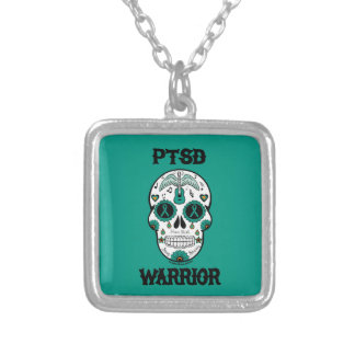PTSD WARRIOR sugar skull Silver Plated Necklace