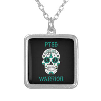 PTSD WARRIOR sugar skull Silver Plated Necklace