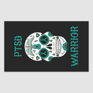 PTSD WARRIOR sugar skull Sticker