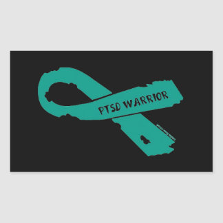 PTSD WARRIOR torn ribbon Sticker