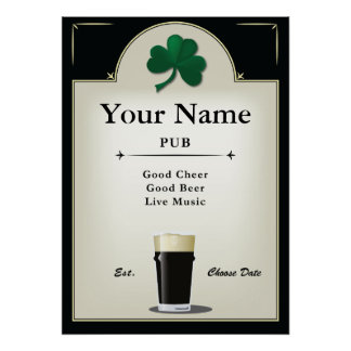 Pub Sign, Irish Pub, Personalized Poster