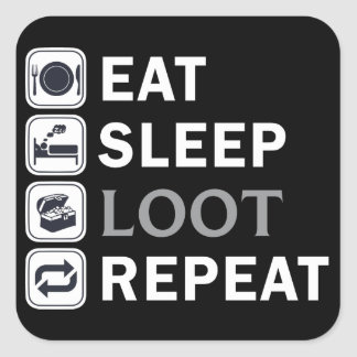 pubg-Eat Sleep Loot Repeat Square Sticker
