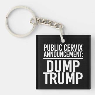 PUBLIC CERVIX ANNOUNCEMENT - DUMP TRUMP - - white  Single-Sided Square Acrylic Keychain