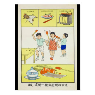 Public Health, battle flies, Taiwan 1959 Postcard
