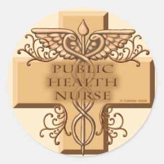 Public Health Nurse Caduceus Classic Round Sticker