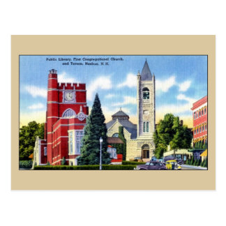 Public Library, Church, Tavern, Nashua NH Postcard