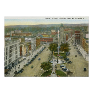Public Square, Watertown NY 1928 Vintage Poster
