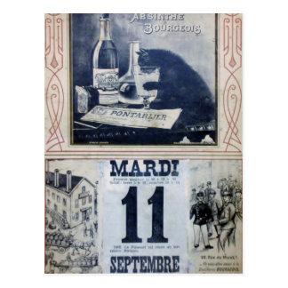 Publicité vintage d'absinthe avec le chat carte postale