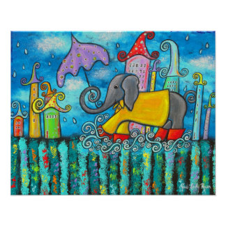 Puddle Jumping Elephant Art Poster