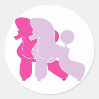 Pudel in Rosa pink Round Sticker