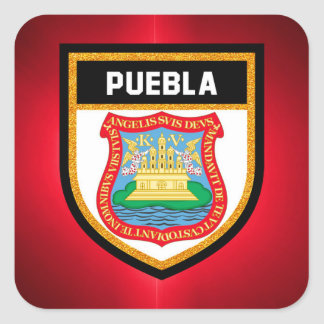 Puebla Flag Square Sticker