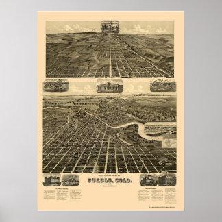 Pueblo, CO Panoramic Map - 1890  Poster