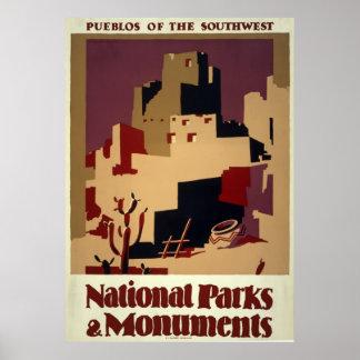Pueblos of the Southwest - Vintage WPA Poster