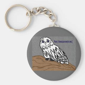 Pueo hawaiian white owl basic round button keychain