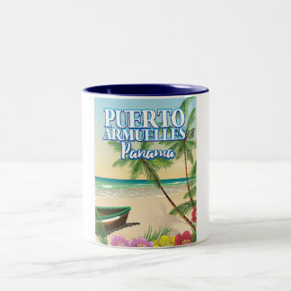 Puerto Armuelles Panama Beach travel poster Two-Tone Coffee Mug