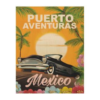 Puerto Aventuras Mexico travel poster Wood Canvas