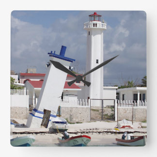 Puerto Morelos Lighthouse Square Wall Clock