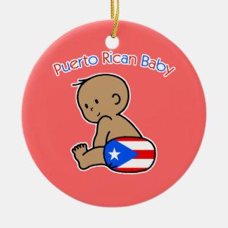 Puerto Rican Baby Round Ceramic Ornament