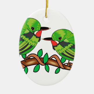 Puerto Rican bird love art Ceramic Ornament
