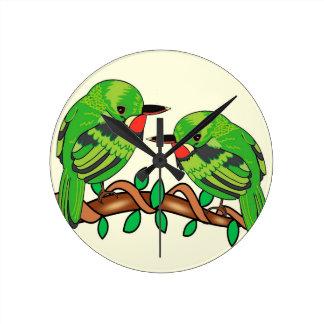 Puerto Rican bird love art Round Clock