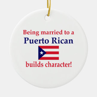 Puerto Rican Builds Character Round Ceramic Ornament