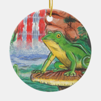 Puerto Rican Coqui Frog Water Fall Hand Painted Ni Round Ceramic Ornament