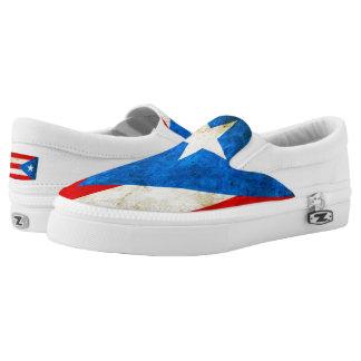 Puerto Rican Flag GRUNGE Slip-On Sneakers