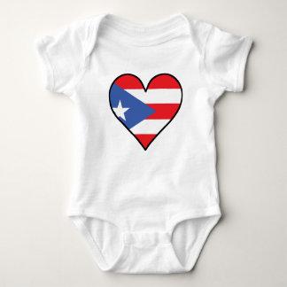 Puerto Rican Flag Heart Baby Bodysuit