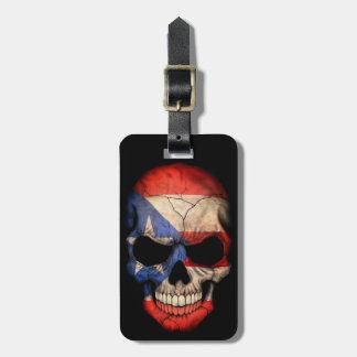 Puerto Rican Flag Skull on Black Luggage Tag