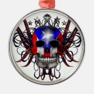 Puerto Rican Flag - Skull Silver-Colored Round Ornament