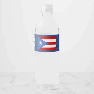 Puerto Rican Flag Water Bottle Label