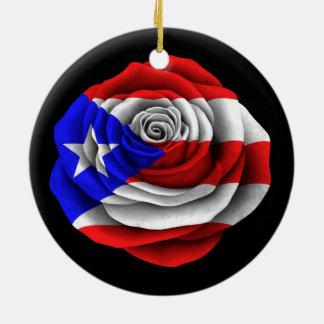 Puerto Rican Rose Flag on Black Round Ceramic Ornament