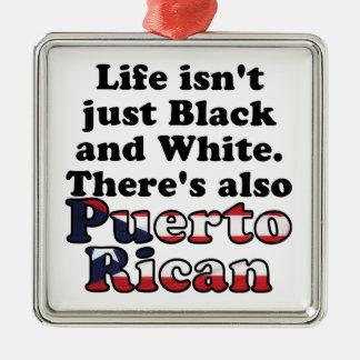 Puerto Rican Silver-Colored Square Ornament