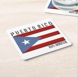 Puerto Rico Boricua Square Paper Coaster