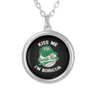 Puerto Rico Boricua St Patrick's Day Silver Plated Necklace