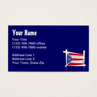 Puerto Rico Brush Flag Business Card