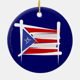 Puerto Rico Brush Flag Ceramic Ornament