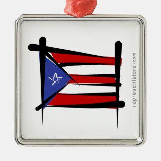 Puerto Rico Brush Flag Silver-Colored Square Ornament