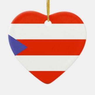 Puerto Rico Ceramic Heart Ornament