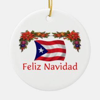 Puerto Rico Christmas Round Ceramic Ornament