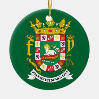 Puerto Rico Coat of Arms Round Ceramic Ornament