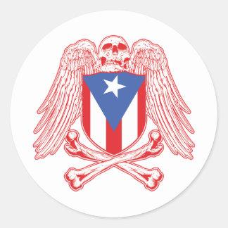 Puerto Rico Crossbones Classic Round Sticker