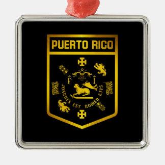 Puerto Rico Emblem Silver-Colored Square Ornament