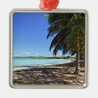 Puerto Rico, Fajardo, Culebra Island, Seven Seas Silver-Colored Square Ornament