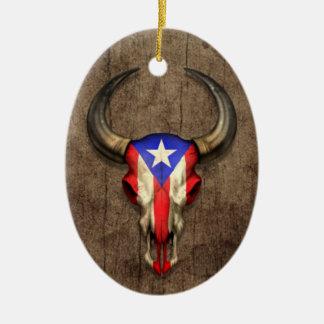 Puerto Rico Flag Bull Skull on Wood Effect Ceramic Oval Ornament